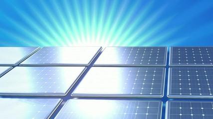 Animation Panneaux photovoltaïque fond bleu