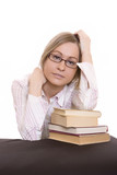 Woman leaning with their elbows on a books poster