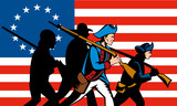 American revolution fighters with Betsy Ross flag poster
