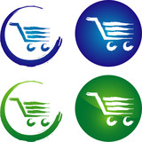 Shopping cart - abstract graphic icon for commerce poster