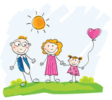 Doodle family. Vector Illustration of mother, father and child. poster