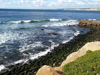 Pacific coastline with mossy rocks and gentle waves