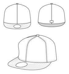 Outline rap cap vector illustration