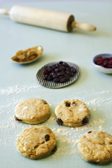 unbaked scone and cranberries