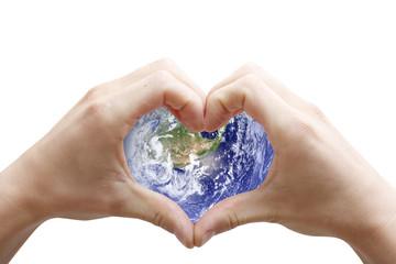 Globe and heart shape