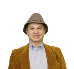 Man in Jacket and Hat Smiling Square