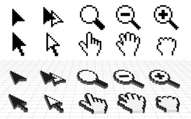 vector hand and arrow cursor