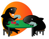 Sharky Shark and friend playing poker with cards and fish chips.