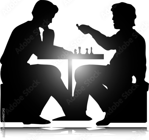 man play chess vector silhouettes