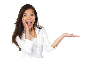 Excited woman showing product