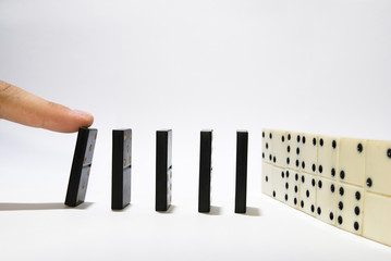 Finger pushing domino