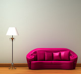 Fototapety Pink couch with standard lamp in minimalist interior