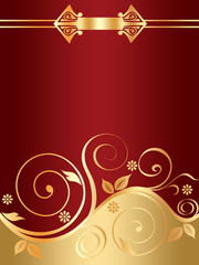 Red floral background with golden curls