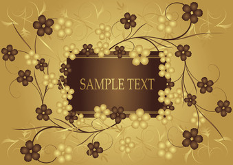 Golden and chocolate frame for text