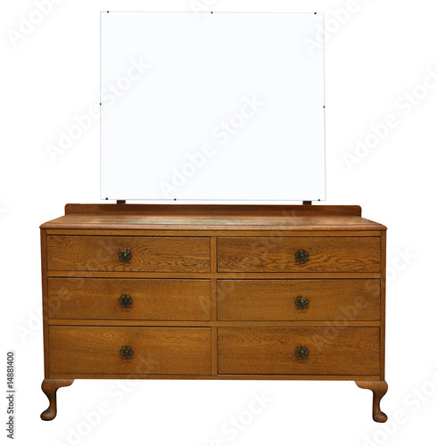 Antique Dressing Table with Mirror with clipping path.