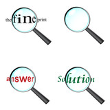 Set of magnifying glasses with text