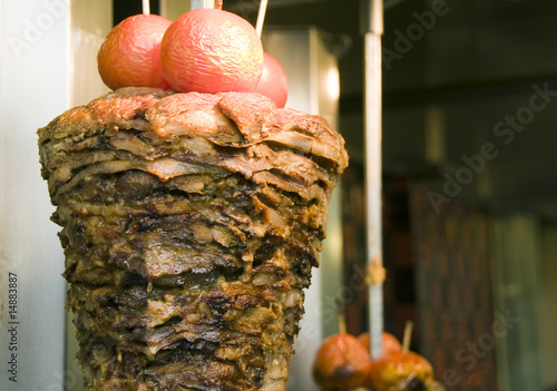 "authentic greek gyro meat roasting taverna athens greece"" Stock photo ..."