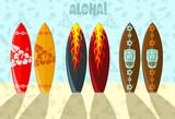 Fototapety Vector illustration of surf boards