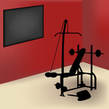 Gym equipment in red room with board for announce poster
