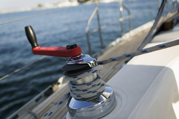 Sailing winch, close-up