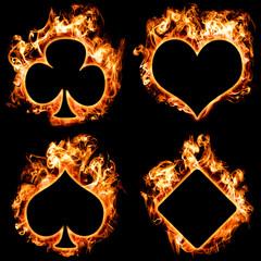 Brennende Karten Symbole