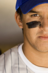 Baseball player with eye black, close-up
