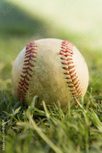Baseball on grass, close-up