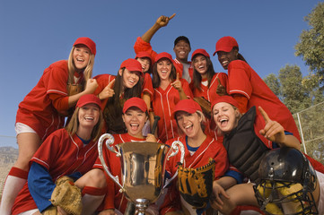 Women's softball team with trophy, portrait