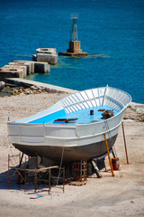 Fishing boat being repaired at a shipyard