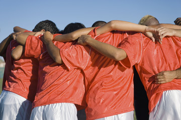 Soccer team in huddle, back view