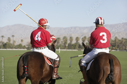 Polo Players holding polo sticks, mounted on polo ponies, back view