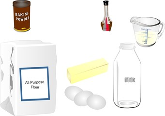 Group of ingredients that may be used in baking.