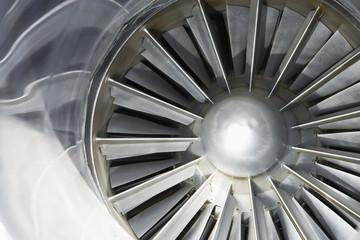 Turbine of jet airplane, close-up