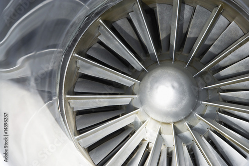 Turbine of jet airplane, close-up