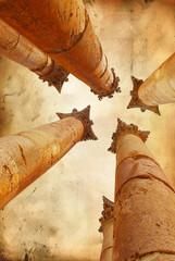 columns on grunge background