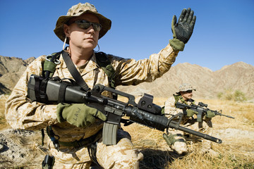 Soldier signalling during battle