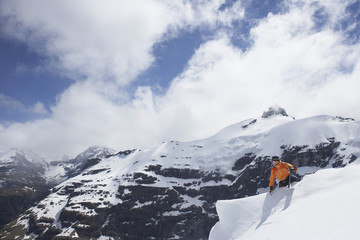 Mountain climber reaching peak