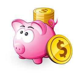 Cochon tirelire et économies dollars