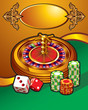 Casino roulette wheel, dice and tokens, golden frame, vector