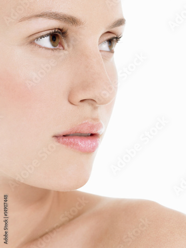 Young Woman looking away, close up