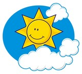 Smiling sun cartoon with fluffy clouds poster