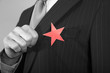 Businessman with Red Star on Suit