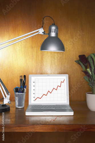 Laptop showing graph and other items on desk