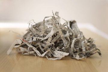 Pile of shredded newspaper, close-up