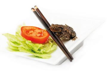 frog and salad
