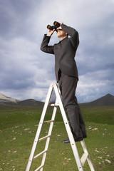 Businessman in mountain field on ladder Looking Through Binoculars
