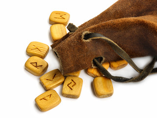 Runes in leather sack