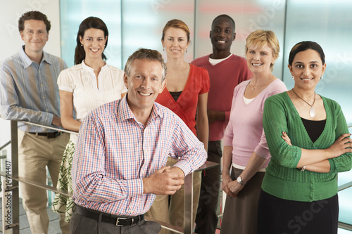 Group of Office Workers Posing on Office Steps