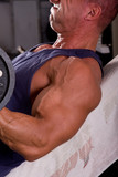 bodybuilder training his bicep