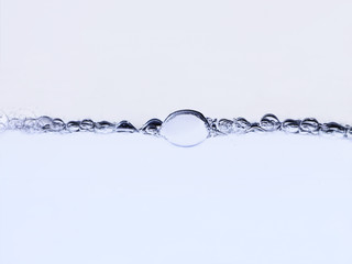 Bubbles on surface of water